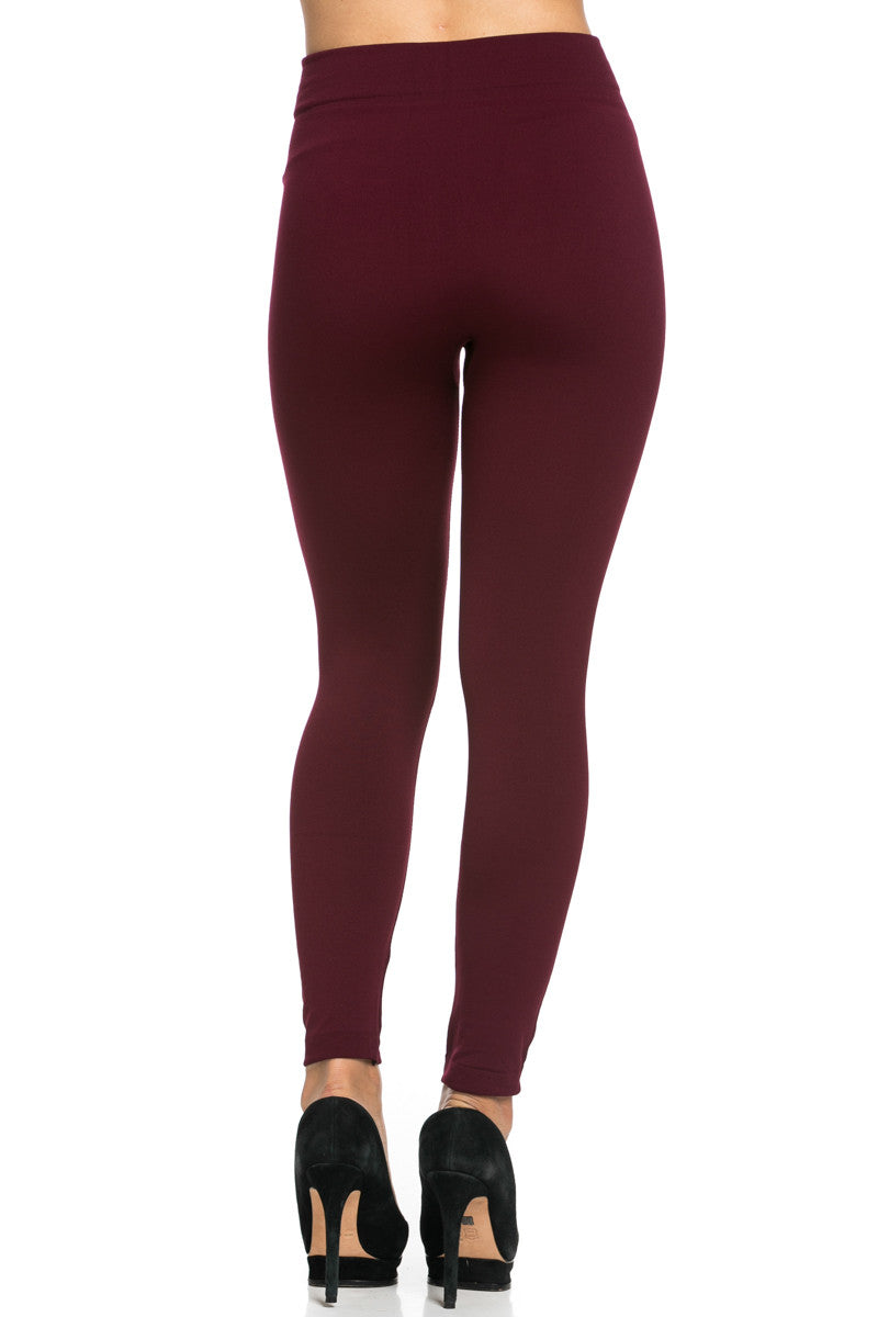 Fleece Lined Leggings Burgundy - Leggings - My Yuccie - 5