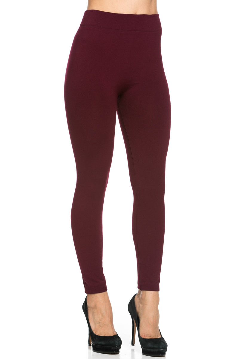 Fleece Lined Leggings Burgundy - Leggings - My Yuccie - 6