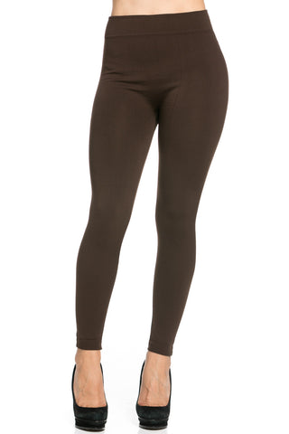 Fleece Lined Leggings Dark Brown - Leggings - My Yuccie - 1