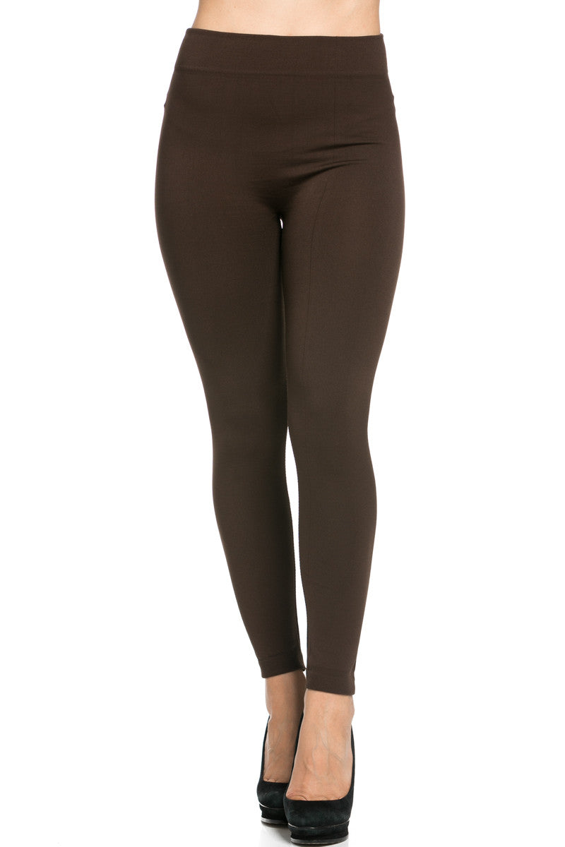 Fleece Lined Leggings Dark Brown - Leggings - My Yuccie - 2
