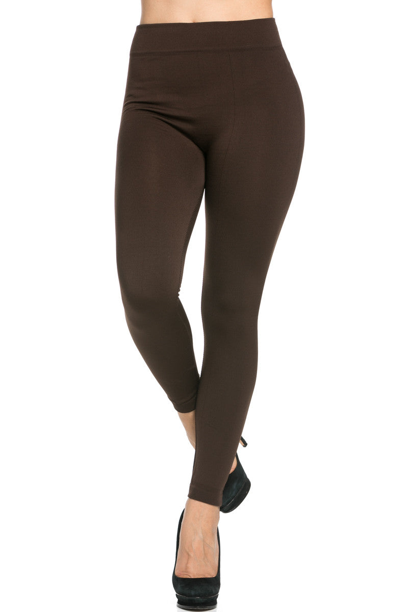 Fleece Lined Leggings Dark Brown - Leggings - My Yuccie - 3