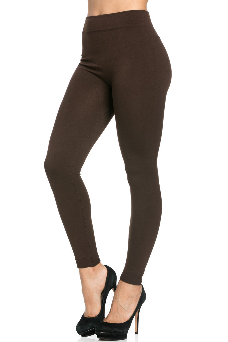 Fleece Lined Leggings Dark Brown - Leggings - My Yuccie - 4