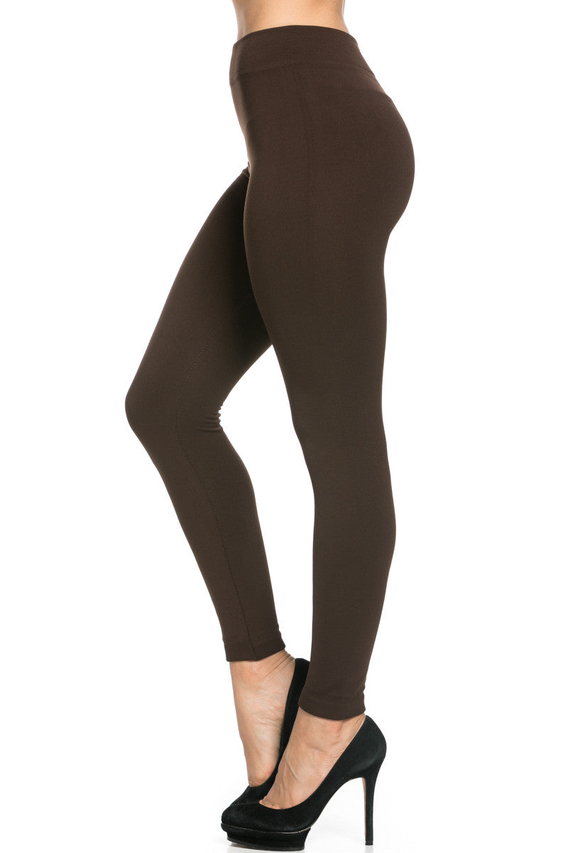 Fleece Lined Leggings Dark Brown - Leggings - My Yuccie - 5
