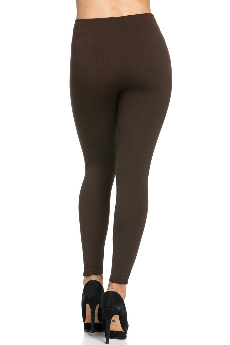 Fleece Lined Leggings Dark Brown - Leggings - My Yuccie - 6