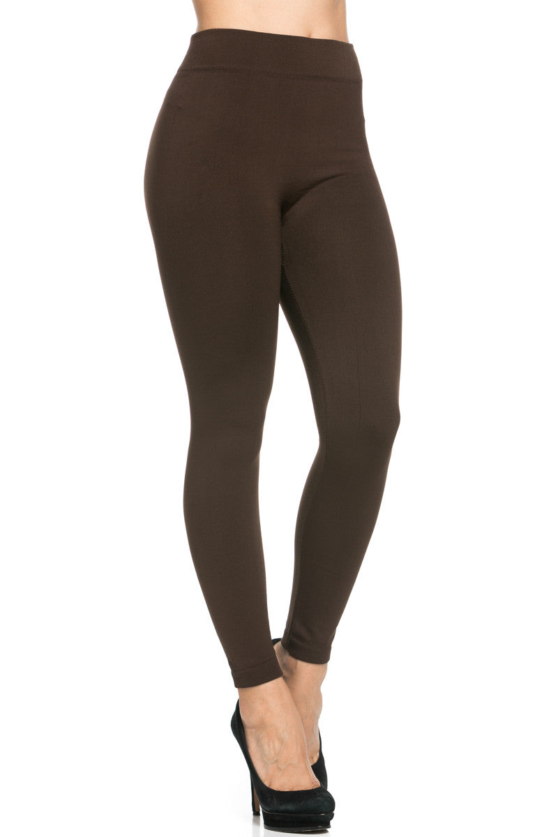 Fleece Lined Leggings Dark Brown - Leggings - My Yuccie - 7