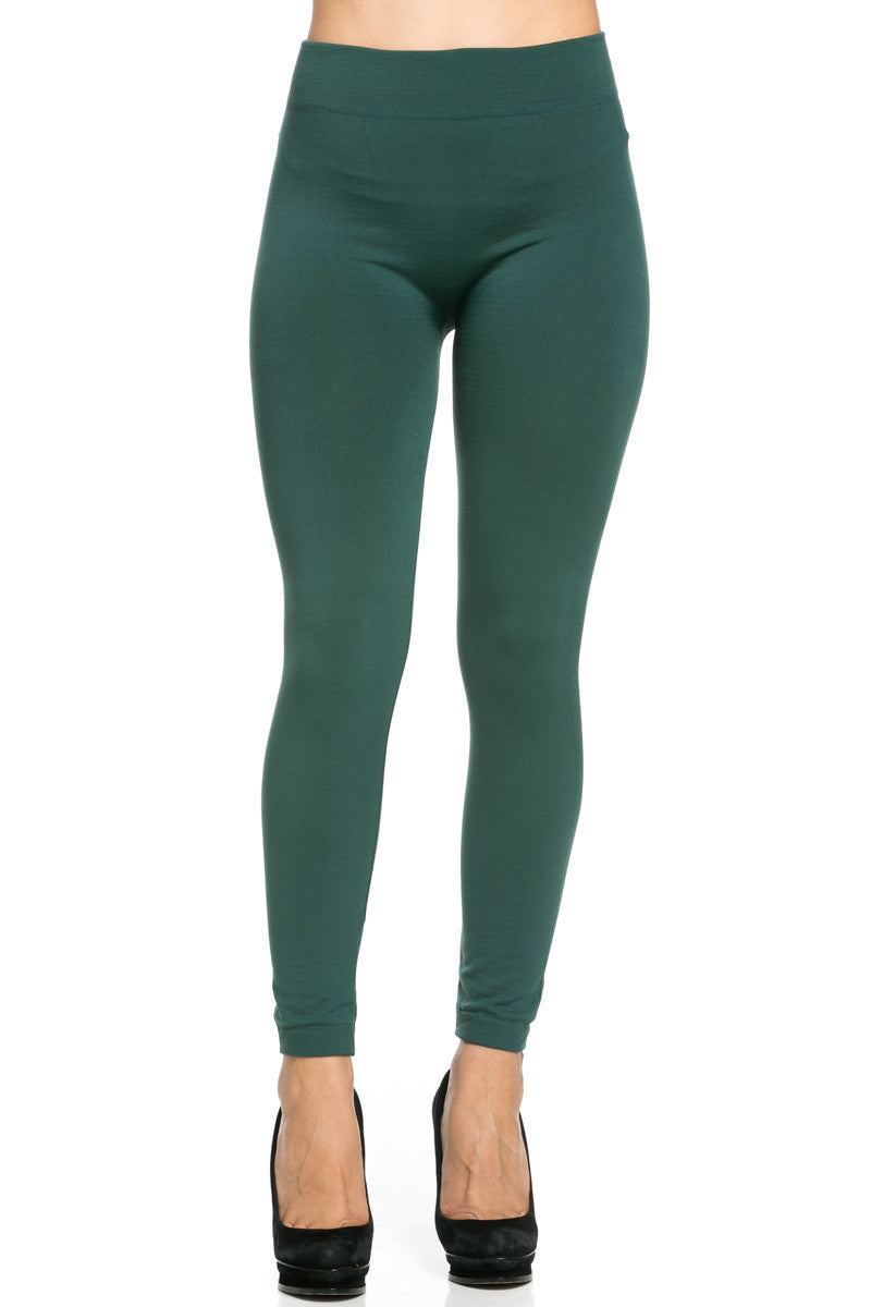 Fleece Lined Leggings Dark Green - Leggings - My Yuccie - 2