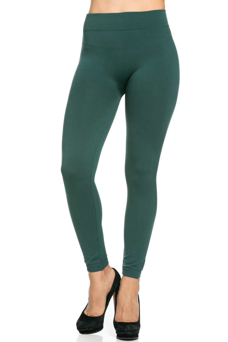 Fleece Lined Leggings Dark Green - Leggings - My Yuccie - 3