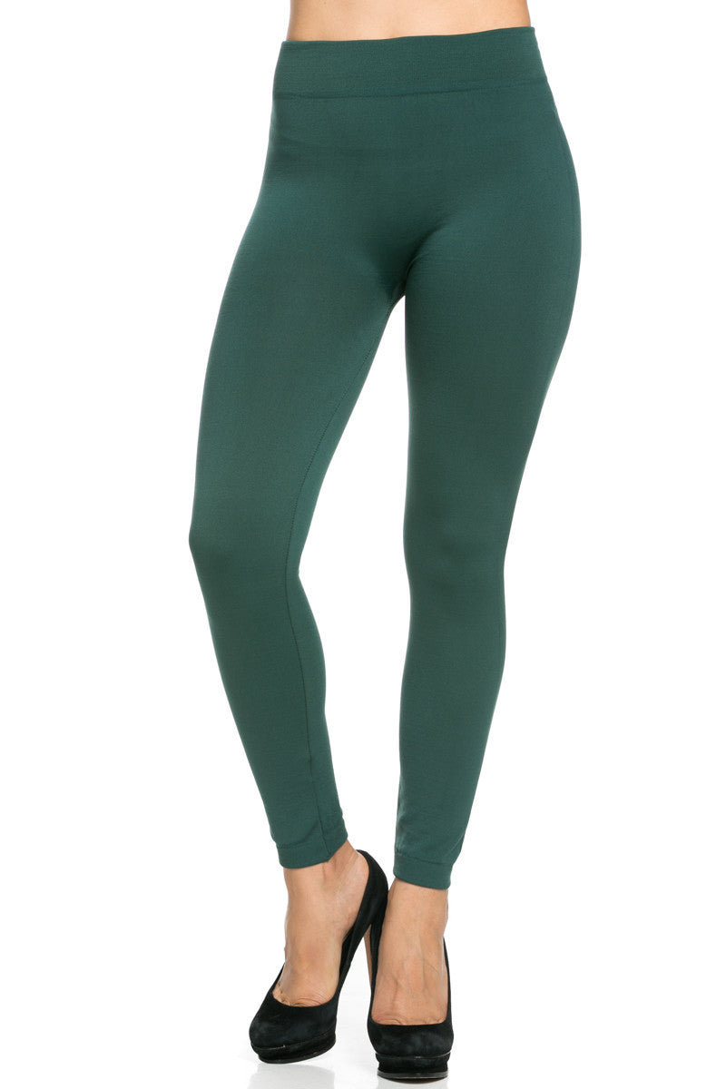 Fleece Lined Leggings Dark Green - Leggings - My Yuccie - 4