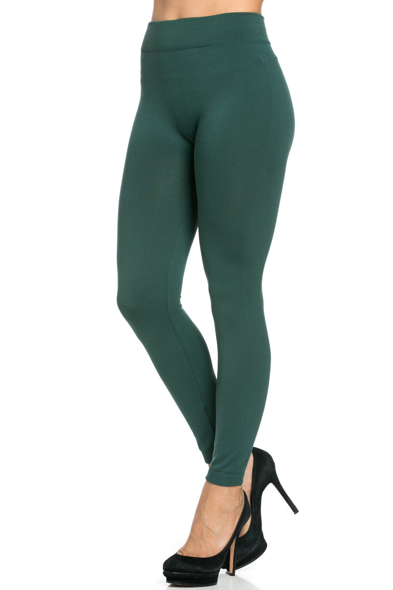 Fleece Lined Leggings Dark Green - Leggings - My Yuccie - 5