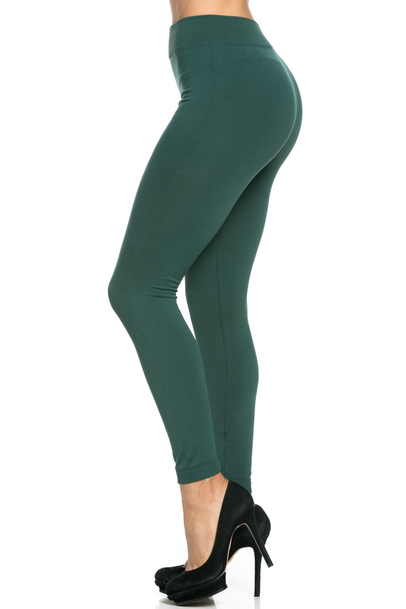 Fleece Lined Leggings Dark Green - Leggings - My Yuccie - 1
