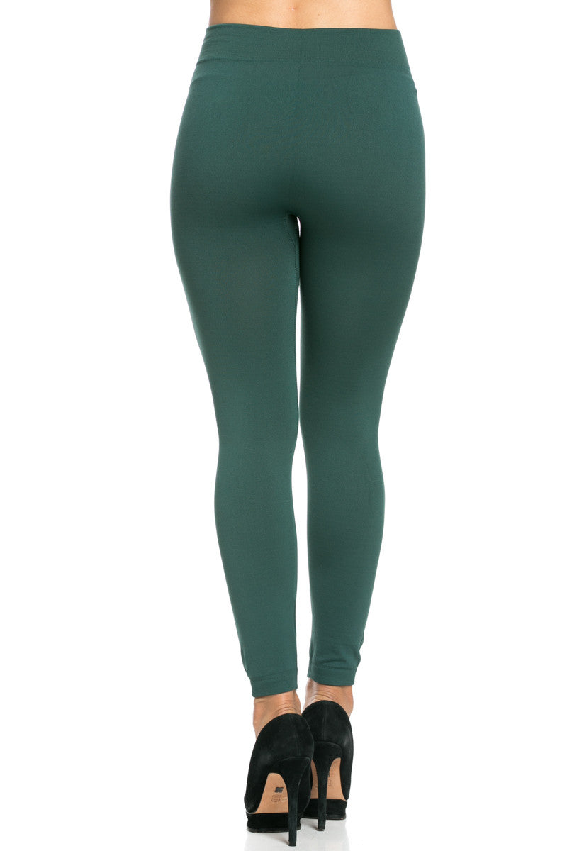 Fleece Lined Leggings Dark Green - Leggings - My Yuccie - 6