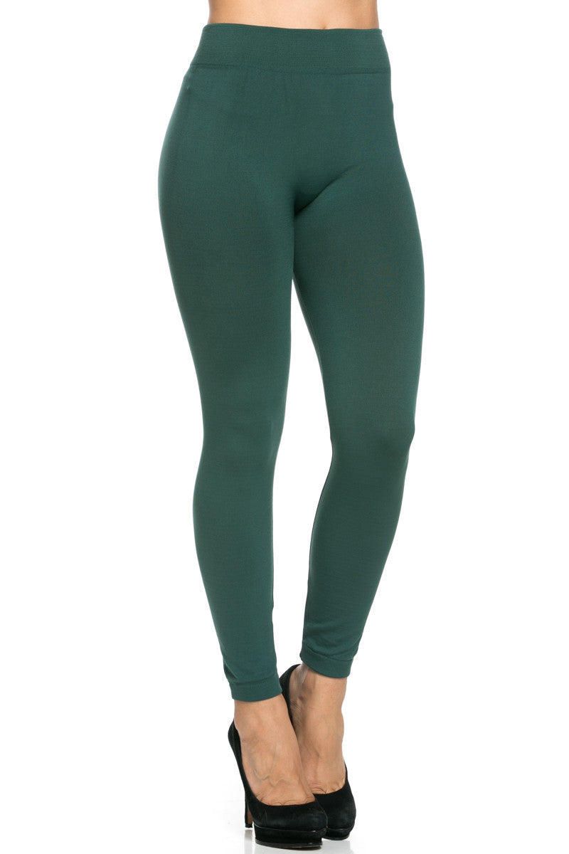 Fleece Lined Leggings Dark Green - Leggings - My Yuccie - 7