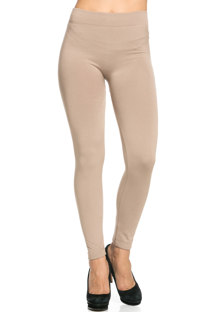 Fleece Lined Leggings Light Mocha - Leggings - My Yuccie - 2