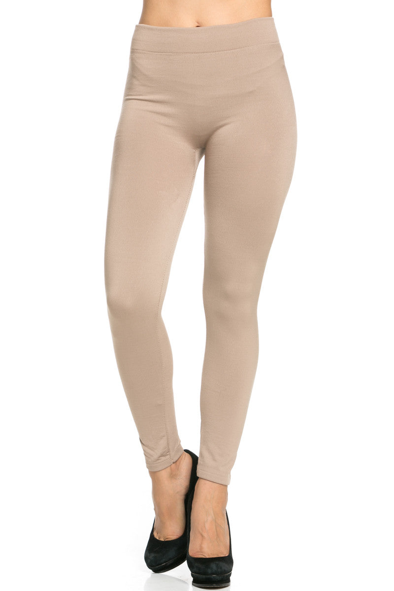 Fleece Lined Leggings Light Mocha - Leggings - My Yuccie - 3