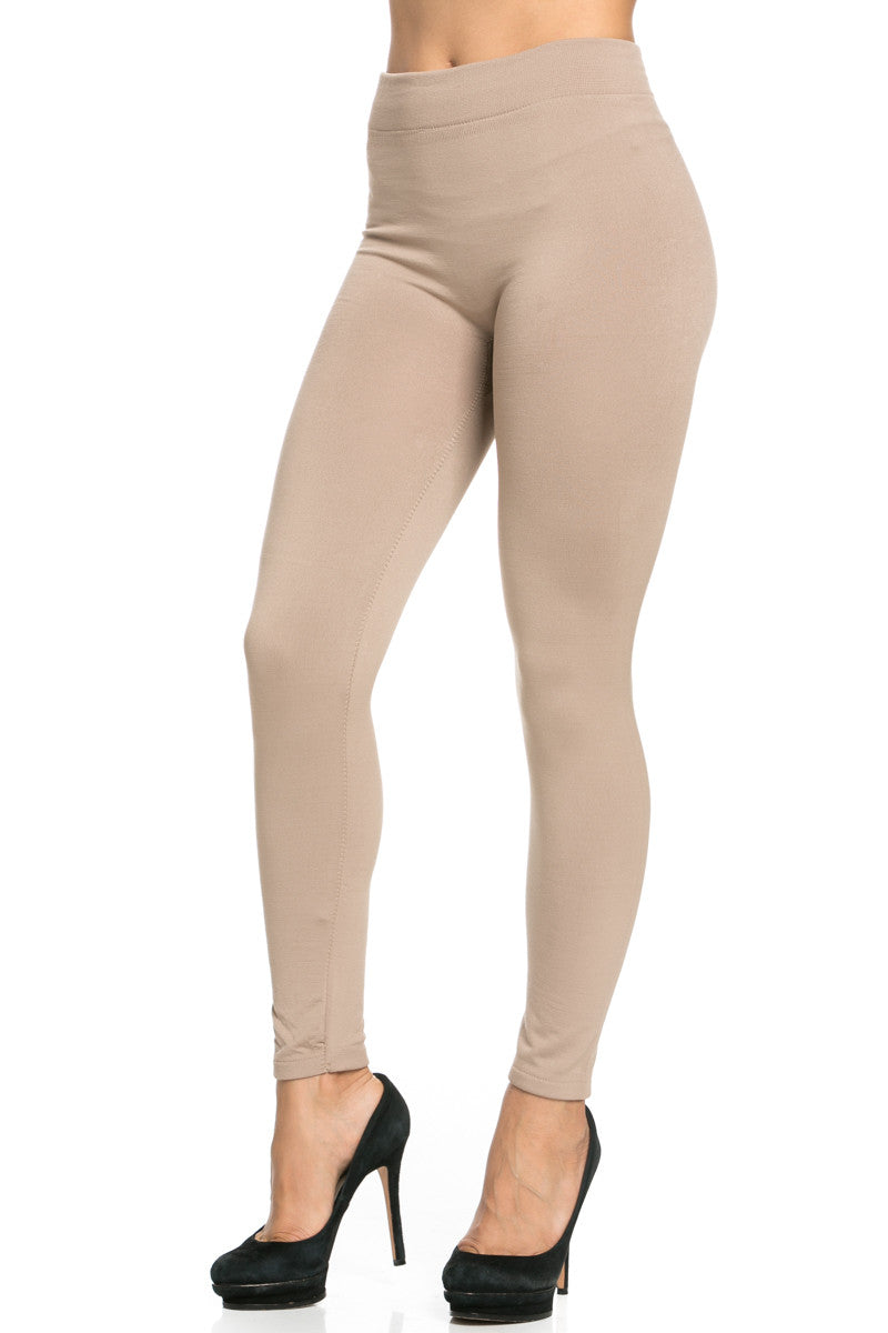 Fleece Lined Leggings Light Mocha - Leggings - My Yuccie - 4