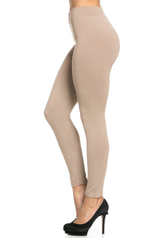 Fleece Lined Leggings Light Mocha - Leggings - My Yuccie - 1
