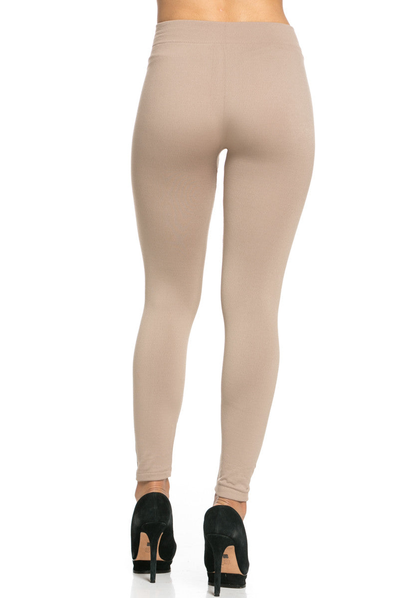 Fleece Lined Leggings Light Mocha - Leggings - My Yuccie - 5