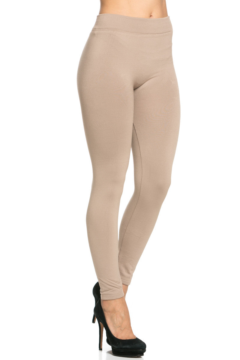 Fleece Lined Leggings Light Mocha - Leggings - My Yuccie - 6