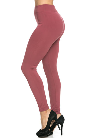 Fleece Lined Leggings Mauve - Leggings - My Yuccie - 1