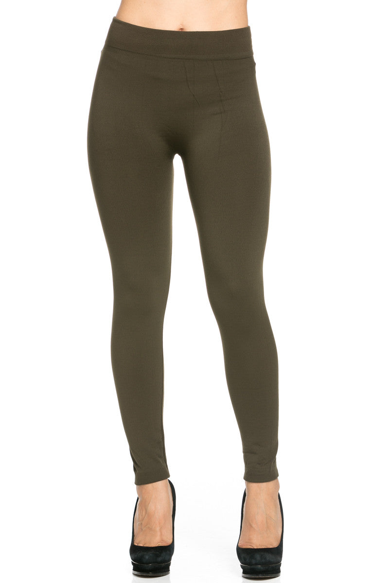 Fleece Lined Leggings Olive - Leggings - My Yuccie - 2