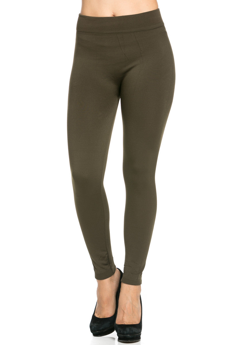 Fleece Lined Leggings Olive - Leggings - My Yuccie - 3
