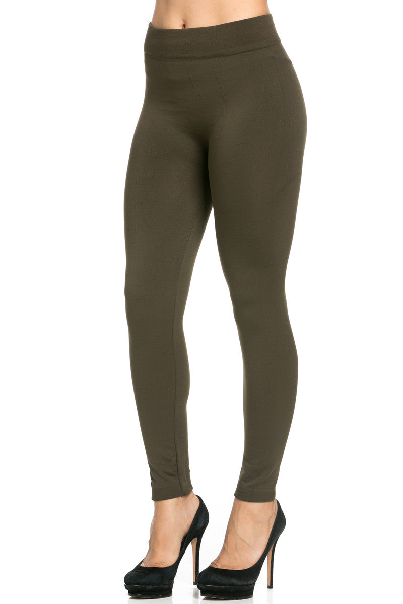Fleece Lined Leggings Olive - Leggings - My Yuccie - 4