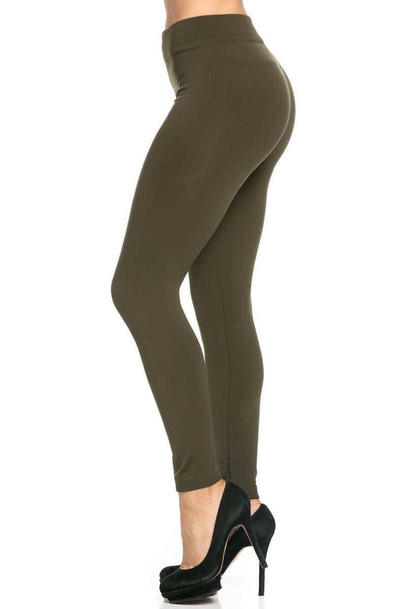 Fleece Lined Leggings Olive - Leggings - My Yuccie - 1