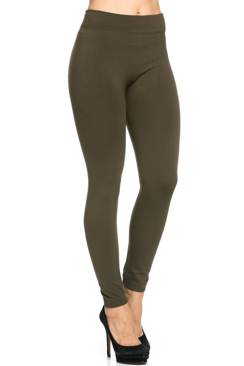 Fleece Lined Leggings Olive - Leggings - My Yuccie - 6