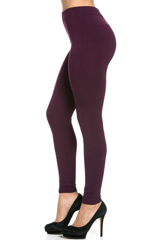 Fleece Lined Leggings Plum - Leggings - My Yuccie - 1