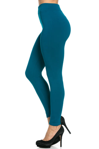 Fleece Lined Leggings Teal - Leggings - My Yuccie - 1