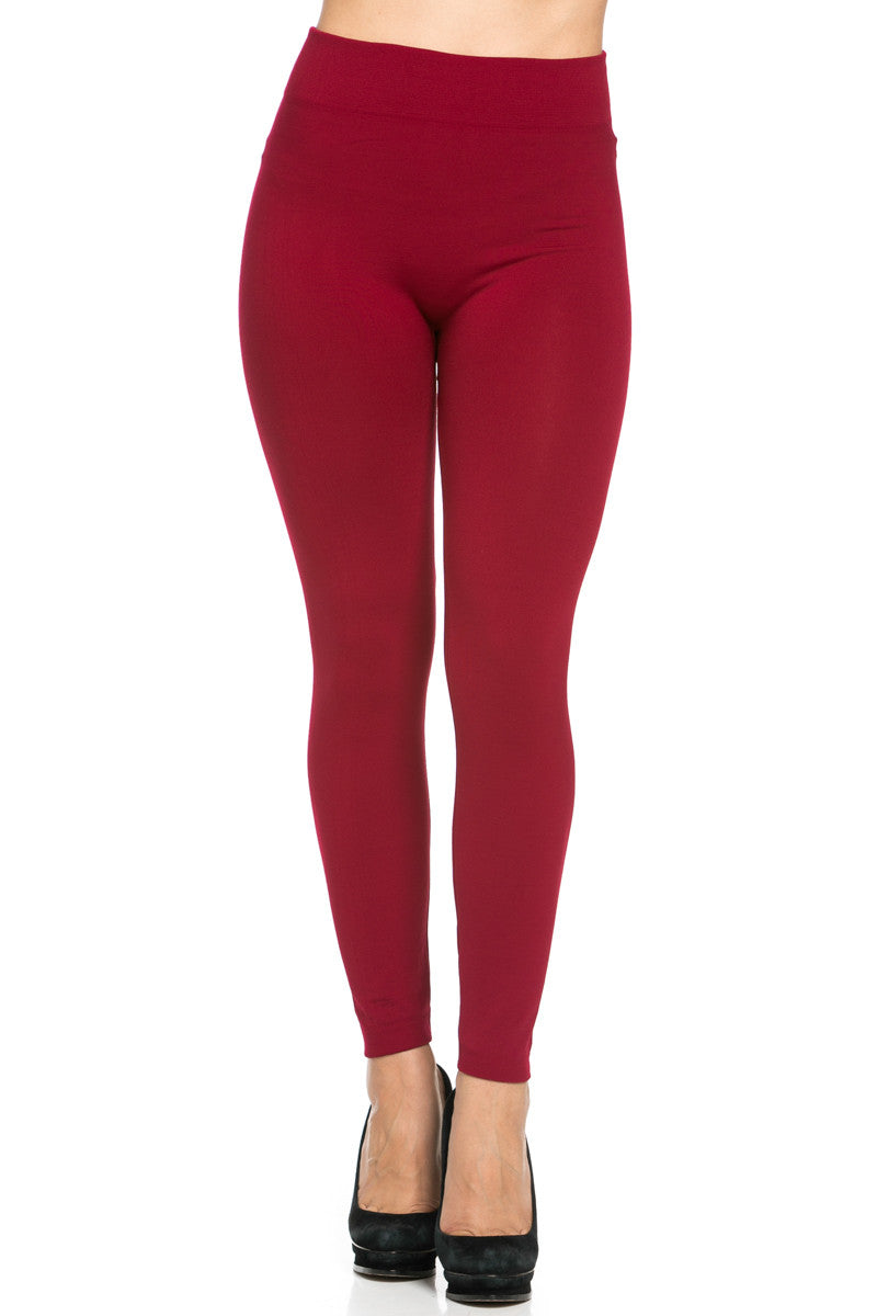 Fleece Lined Leggings Wine - Leggings - My Yuccie - 2