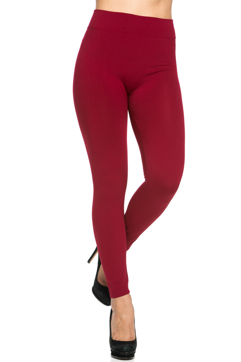 Fleece Lined Leggings Wine - Leggings - My Yuccie - 3