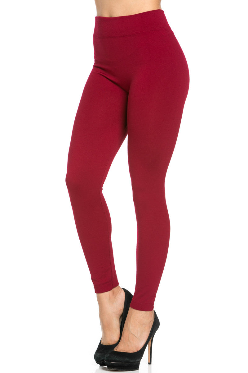 Fleece Lined Leggings Wine - Leggings - My Yuccie - 4
