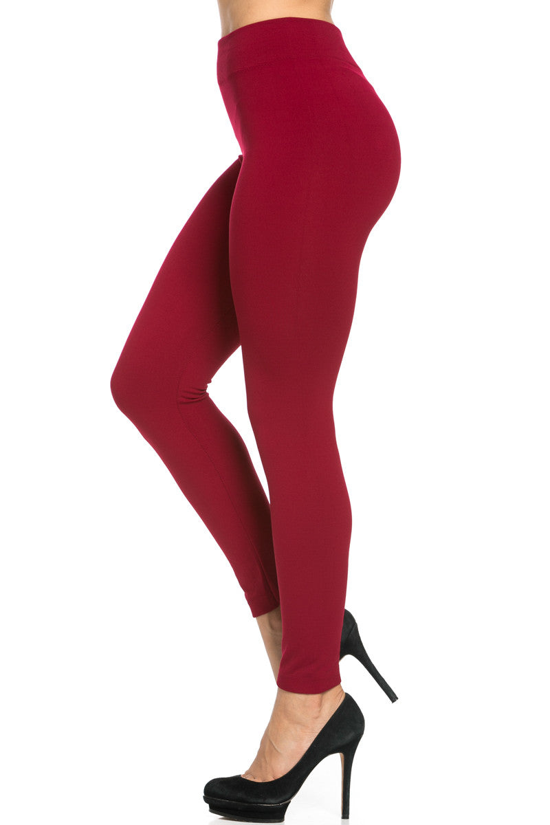 Fleece Lined Leggings Wine - Leggings - My Yuccie - 1