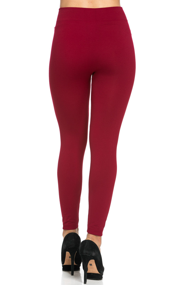 Fleece Lined Leggings Wine - Leggings - My Yuccie - 5