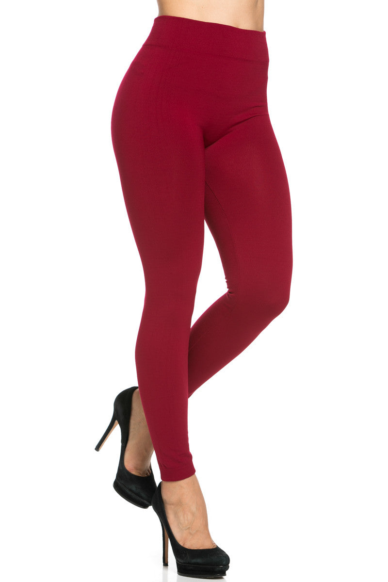 Fleece Lined Leggings Wine - Leggings - My Yuccie - 6