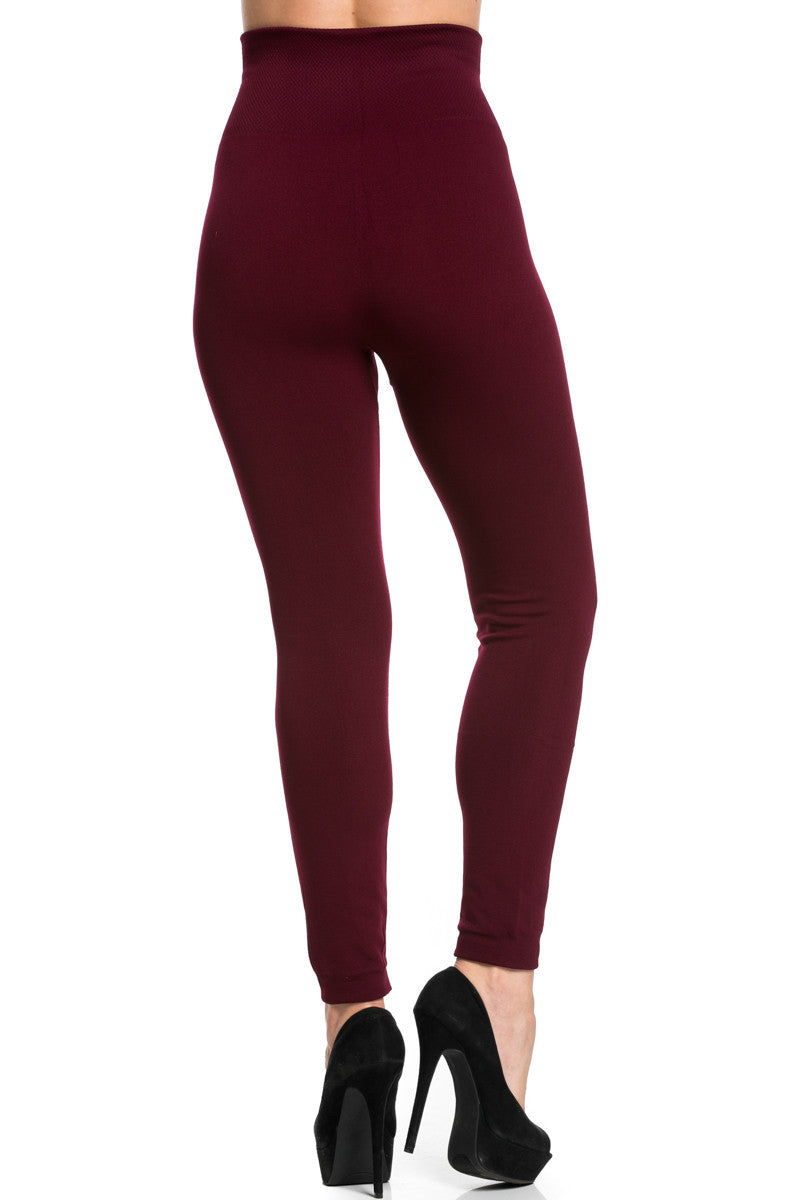 High Waist Fleece Leggings Burgundy - Leggings - My Yuccie - 3