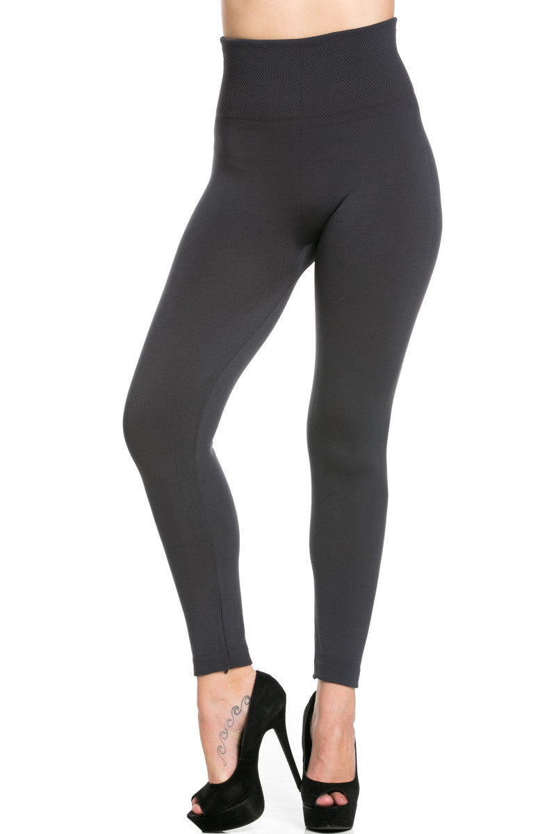 High Waist Fleece Leggings Charcoal - Leggings - My Yuccie - 1
