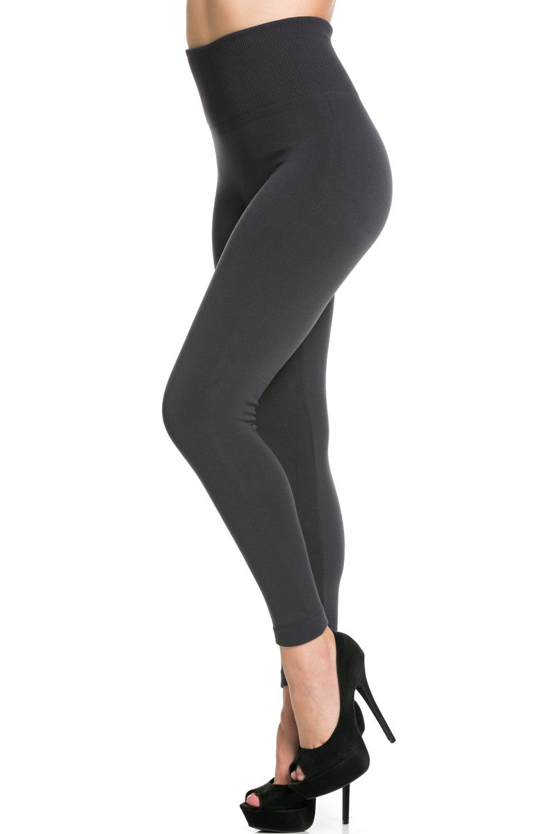 High Waist Fleece Leggings Charcoal - Leggings - My Yuccie - 2