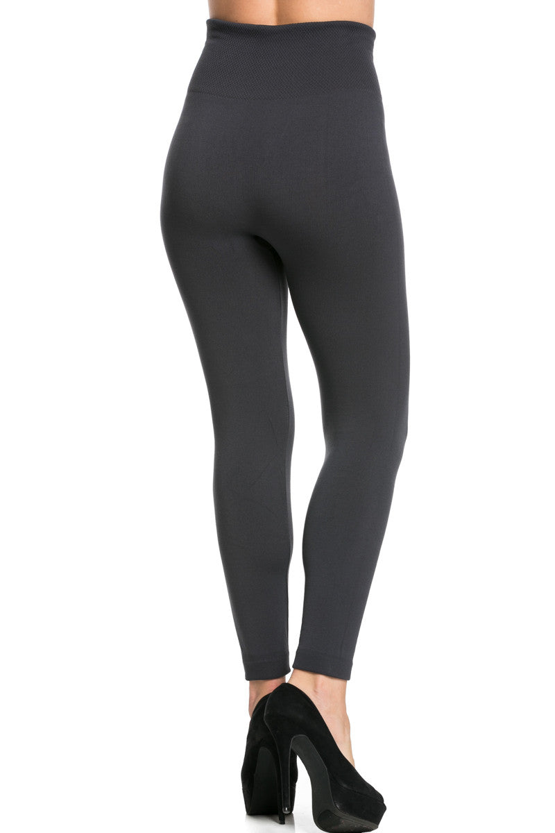 High Waist Fleece Leggings Charcoal - Leggings - My Yuccie - 3