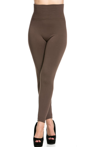 High Waist Fleece Leggings Cocoa - Leggings - My Yuccie - 1