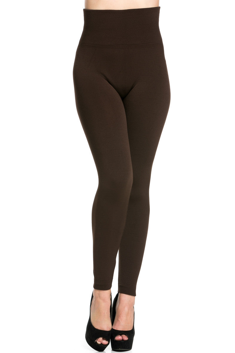 Brown Leggings. No matter what season, the right pair of brown leggings can make your look complete. Whether worn under a dress, a tunic, or with a cute shirt, leggings look neat and stylish.
