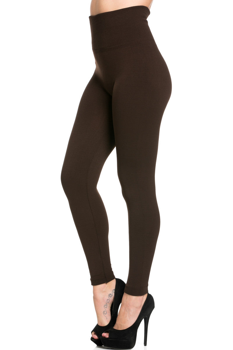 High Waist Fleece Leggings Dark Brown - Leggings - My Yuccie - 2