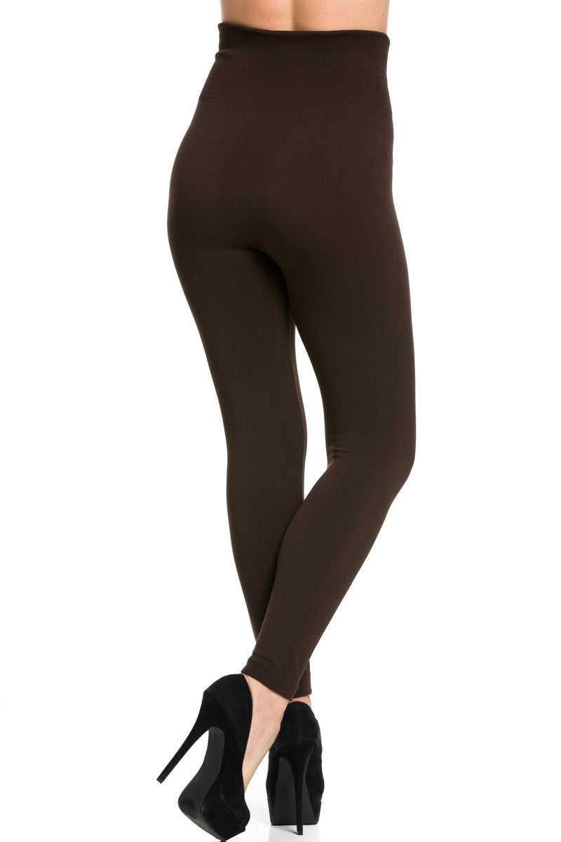 High Waist Fleece Leggings Dark Brown - Leggings - My Yuccie - 3