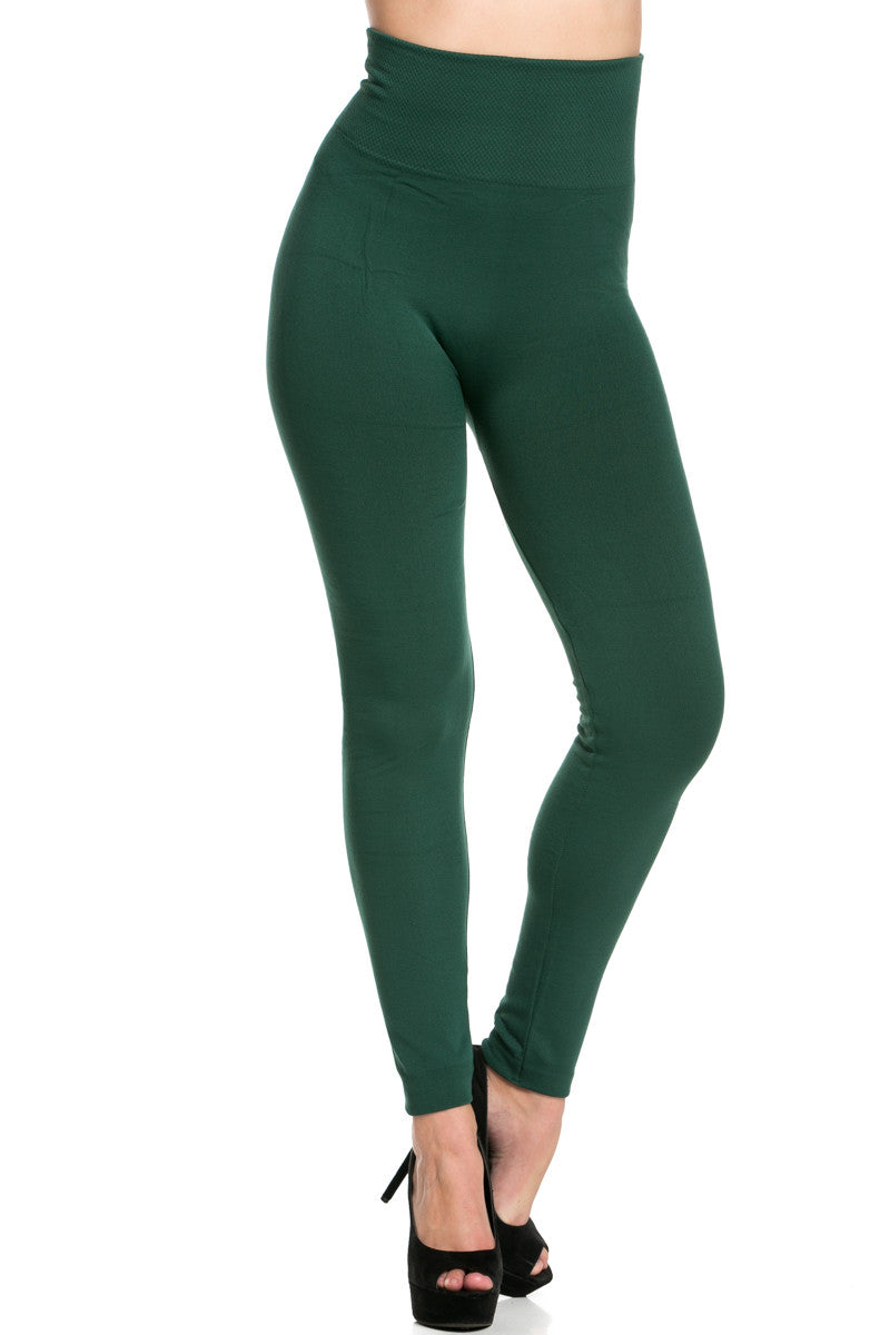 High Waist Fleece Leggings Dark Green - Leggings - My Yuccie - 1