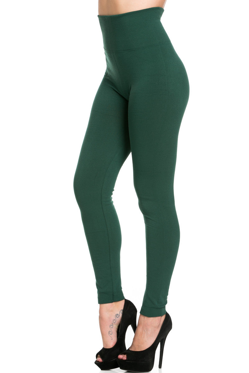 High Waist Fleece Leggings Dark Green - Leggings - My Yuccie - 2