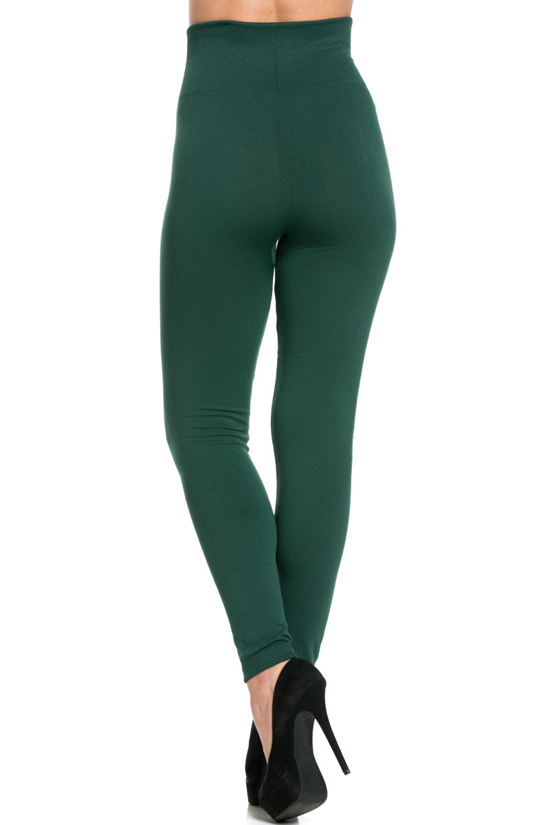 High Waist Fleece Leggings Dark Green - Leggings - My Yuccie - 3