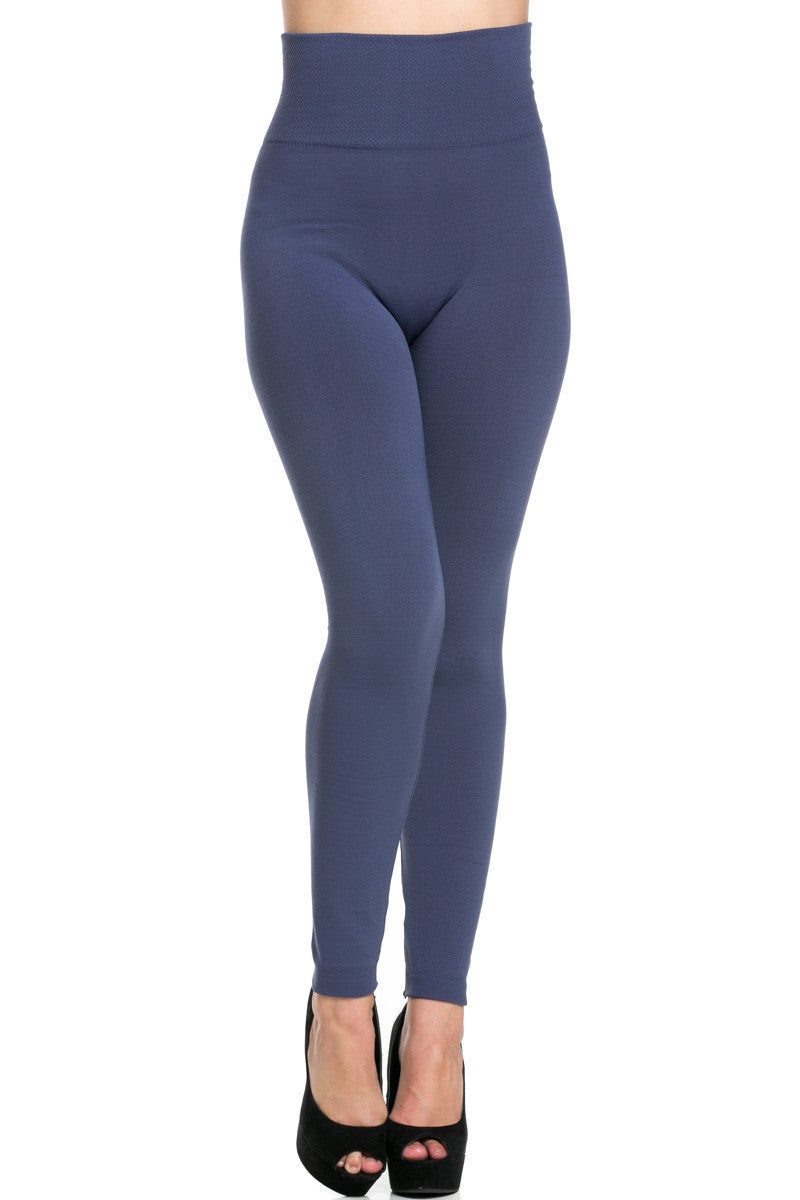 High Waist Fleece Leggings Midnight Blue - Leggings - My Yuccie - 1