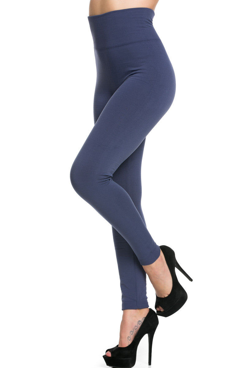 High Waist Fleece Leggings Midnight Blue - Leggings - My Yuccie - 2