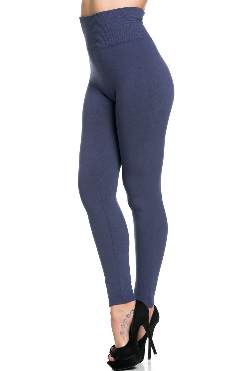 High Waist Fleece Leggings Midnight Blue - Leggings - My Yuccie - 3